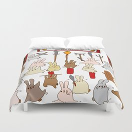 Every bunny was kung fu fighting Duvet Cover
