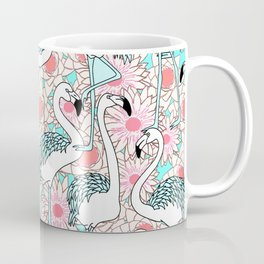 Flamingo with pink floral pattern #society6 Coffee Mug