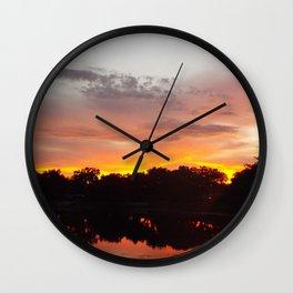 Fiery Sunset Wall Clock