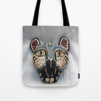 mask Tote Bags featuring Mask by Abundance