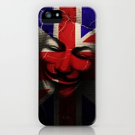 Guy Fawkes Day Union Jack Distressed Flag and Mask iPhone Case