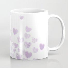Hearts falling painted pastels purple heart pattern minimal art print nursery baby art Coffee Mug