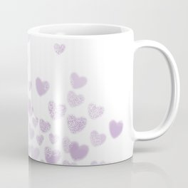 Hearts falling painted pastels purple heart pattern minimal art print nursery baby art Coffee Mug