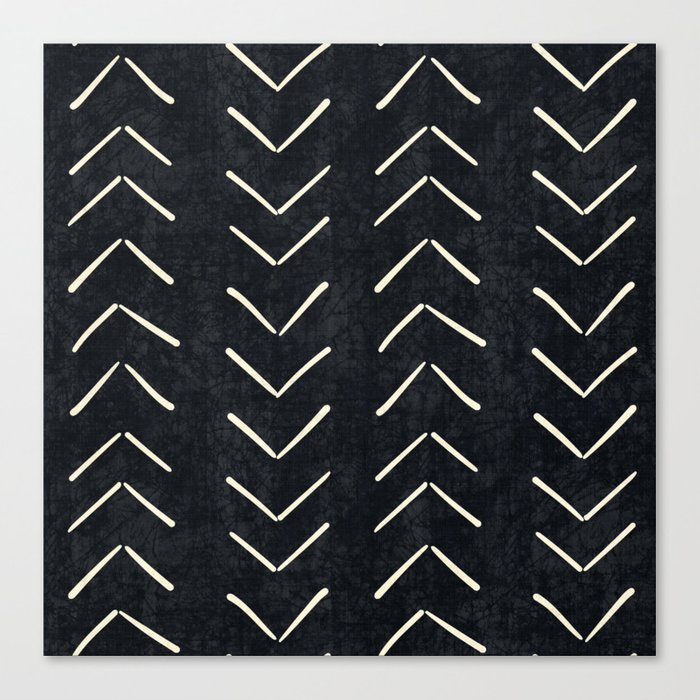 Mudcloth Big Arrows in Black and White Leinwanddruck