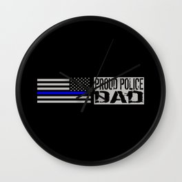 Police: Proud Dad (Thin Blue Line) Wall Clock