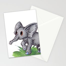 Curious Baby Elephant Stationery Cards