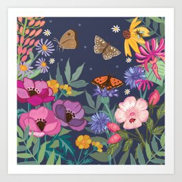 Anemones & Cornflowers Art Print
