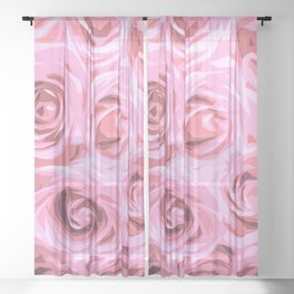 Elegant Abstract Pink Roses Sheer Curtain