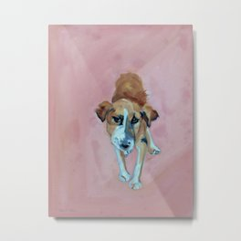 A Dog in Pink Portrait Metal Print
