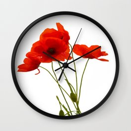 Delicate Red Poppies Vector Wall Clock