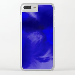 Blue Watercolor Abstract Clear iPhone Case