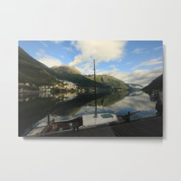 Boat on dock Metal Print