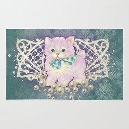 Kitschy Pearl Kitten Rug