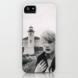 Girl in the Wind at Coquille River Lighthouse - Bandon, Oregon Black and White Photograph iPhone Case