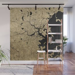 Boston Black and Gold Map Wall Mural