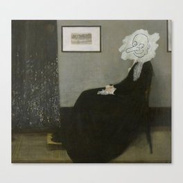 Whistler's Mother - Mr Bean Canvas Print