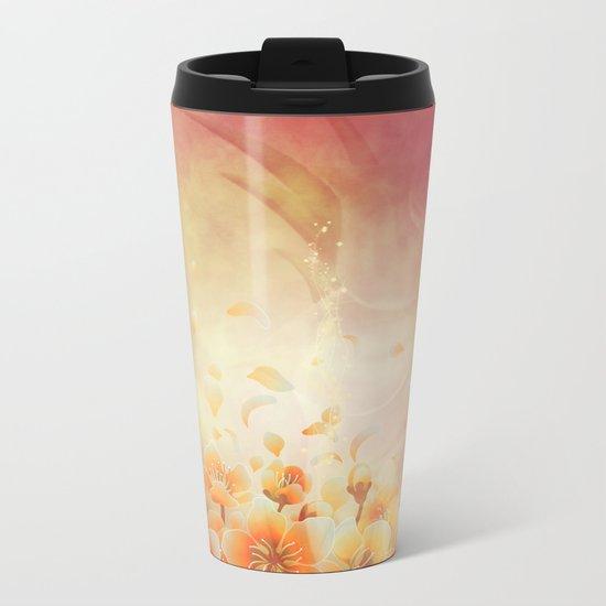 Elegant, colorful floral design Metal Travel Mug