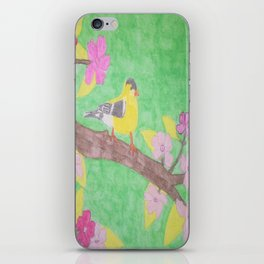 Yellow Bird and Blossoms iPhone Skin