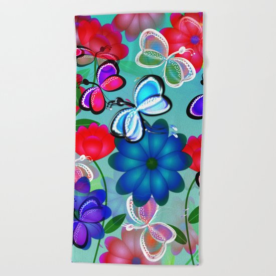 Abstract Butterflies with Flowers (Blue) Beach Towel