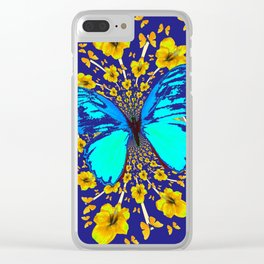 TURQUOISE BLUE YELLOW AMARYLLIS BUTTERFLY ART Clear iPhone Case