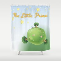 the little prince Shower Curtains featuring The Little Prince  by Irmak Berktas