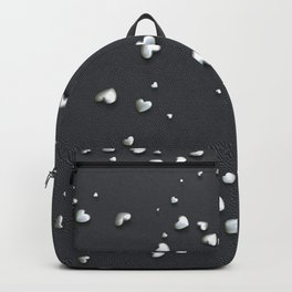 VALENTINE HEARTS - Silver Hearts & Dark Leather Backpack