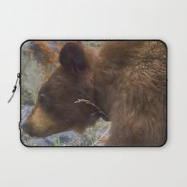 Collared Cinnamon Black Bear at Vermillion Lakes painterly Laptop Sleeve
