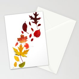 Autumn Rainbow, Fallen Leaves Stationery Cards
