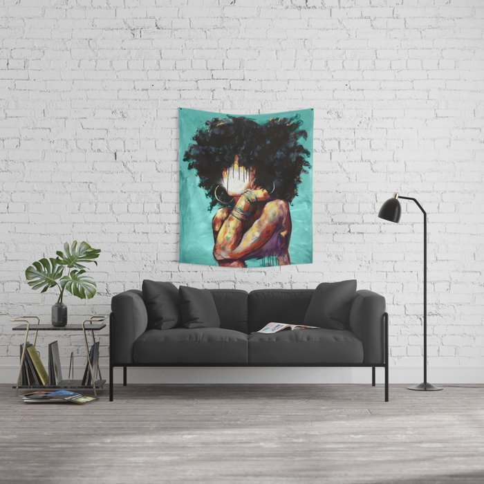 Naturally II TEAL Wall Tapestry