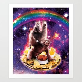 Space Cat Llama Sloth Riding Nachos Art Print