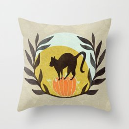 Halloween Kitty Throw Pillow