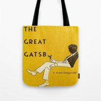 the great gatsby Tote Bags featuring The Great Gatsby by MW. [by Mathius Wilder]