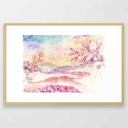 Loose Landscape and Branches Watercolor Framed Art Print