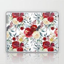 Elegant burgundy pink teal gray watercolor holly leaves floral Laptop & iPad Skin