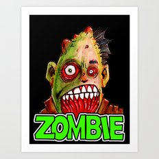 ZOMBIE title with zombie head Art Print
