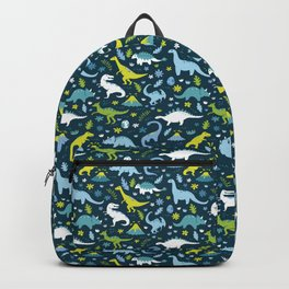 Kawaii Dinosaurs in Blue + Green Backpack