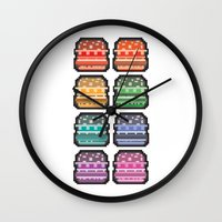 8bit Wall Clocks featuring 8bit burger by thev clothing
