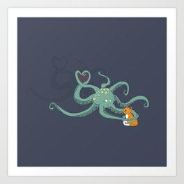 Octopus Loves Kitty Art Print