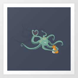 Octopus Loves Kitty Art Print