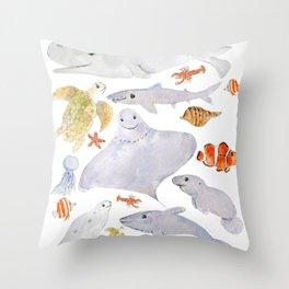 happy sea animals painting Throw Pillow
