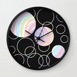 Abstract Artwork Pattern of Color Circles on a Black Background Style #02 Wall Clock