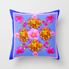 Blue Art Pink Roses Gold Daffodils Throw Pillow
