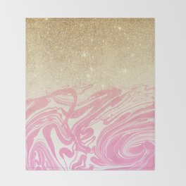 Pink white faux gold glitter modern marble Throw Blanket