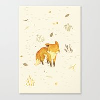 animals Canvas Prints featuring Lonely Winter Fox by Teagan White