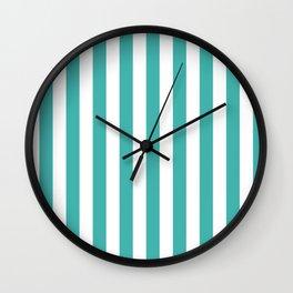 Narrow Vertical Stripes - White and Verdigris Wall Clock
