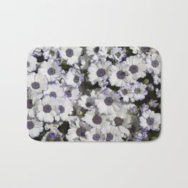 Cineraria White and Purple Bath Mat