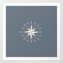Compass in White on Slate Grey color Art Print