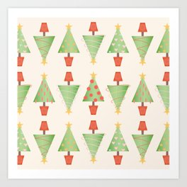 Topiary Christmas Tree Pattern with Stitched Fabric Style Art Print