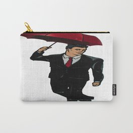 Graffiti. A Man With an Umbrella Carry-All Pouch
