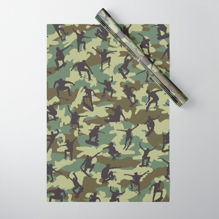 fcdea89fc1ace Skater Camo WOODLAND Wrapping Paper by grandeduc | Society6